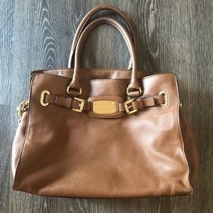 Michael Kors Tan Satchel Purse with Gold Accents
